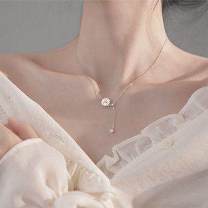 NEW 925 Silver Shell Daisy Diamond Drop Necklace